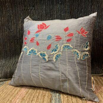 Cushion Cover Khadi Silk Pichwai Lotus Motifs 16 Grey