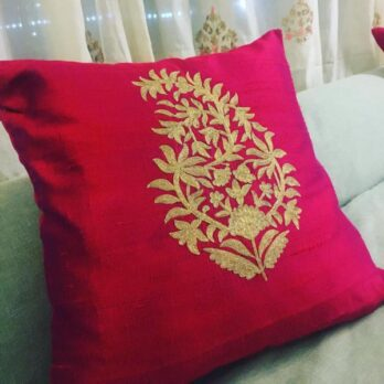 Cushion Cover Raw Silk Aari Work Paisely Leaf 16 Magenta