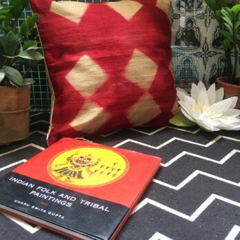 Cushion Cover Raw Silk Shibori Dye Rhombus 16 Red Beige
