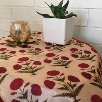 Table Runner Art Dupion Silk Printed Floral 72 Red