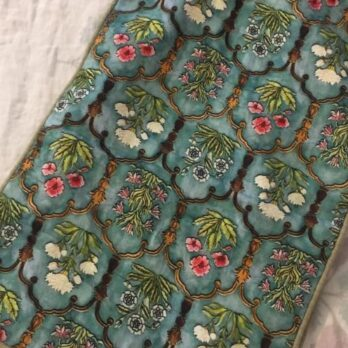 Table Runner Cotton Printed Mughal Jaali 76 Green