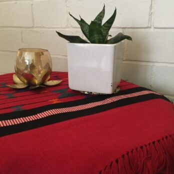 Table Runner Woven cotton Pattu Geometry 5 ft Red