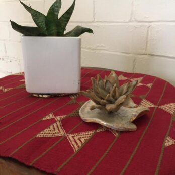 Table Runner Woven cotton Pattu Geometry 4ft Maroon