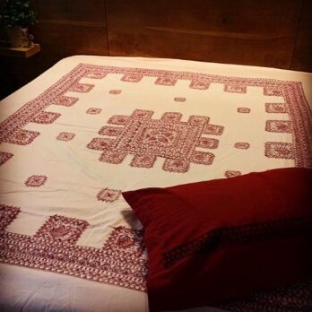 Bed Sheet Cotton Madhubani Painting Border Centre 90 by 100 Pink